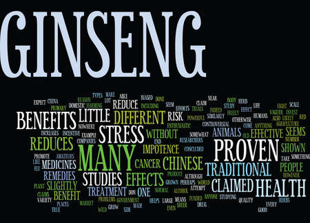 GINSENG A HERB TO REDUCE STRESS Text Background Word Cloud Concept Illusztráció