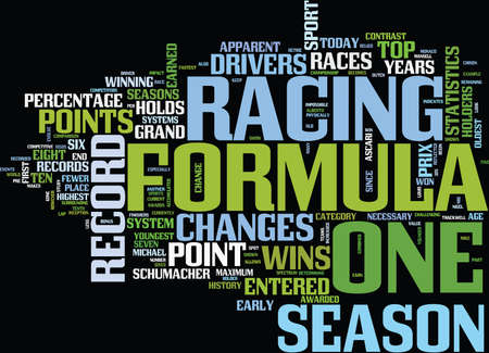 FORMULA ONE RECORDS SHOW CHANGES IN SPORT Text Background Word Cloud Concept