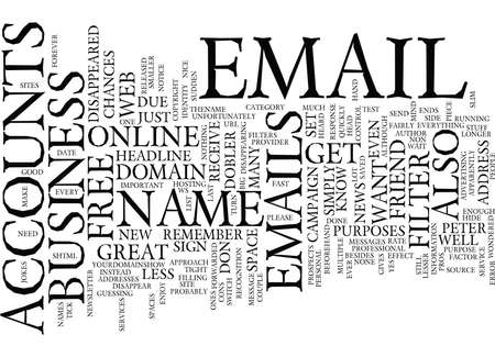 FREE EMAIL ACCOUNTS PROS AND CONS Text Background Word Cloud Concept Illustration