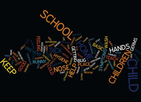 GOOD HEALTH AT SCHOOL Text Background Word Cloud Concept