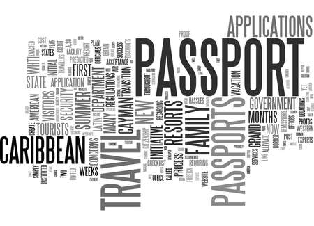 GET YOUR PASSPORT NOW FOR SUMMER TRAVEL TO THE CARIBBEAN Text Background Word Cloud Concept
