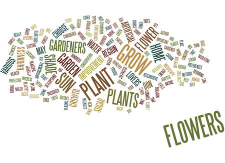 FLOWERS THAT BEAUTIFY YOUR HOME AND GARDEN Text Background Word Cloud Concept