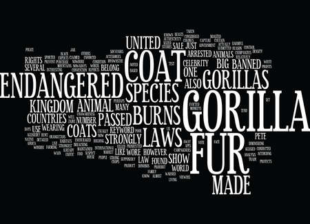 GORILLA FUR COAT Text Background Word Cloud Concept