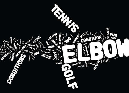 GOLF ELBOW OR TENNIS ELBOW THE TELL TALE SIGNS Text Background Word Cloud Concept Illustration