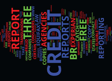 FREE CREDIT REPORTS FOR YOU Text Background Word Cloud Concept Illustration