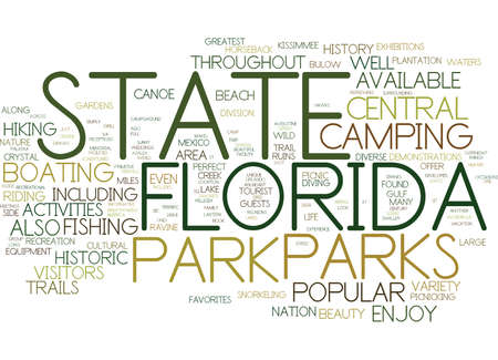 guests: FLORIDA STATE PARKS Text Background Word Cloud Concept Illustration