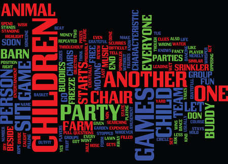 FREE PARTY GAMES FOR CHILDREN Text Background Word Cloud Concept Illustration