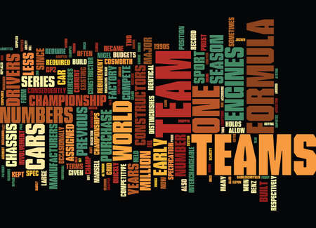 FORMULA ONE DRIVERS AND CONSTRUCTORS Text Background Word Cloud Concept