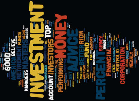 GOOD INVESTMENT ADVICE ONLY FOR THE RICH Text Background Word Cloud Concept Иллюстрация