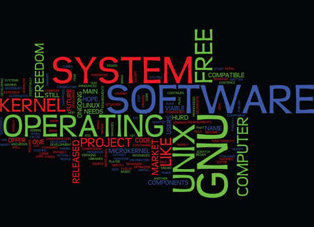 GNU Text Background Word Cloud Concept Illustration