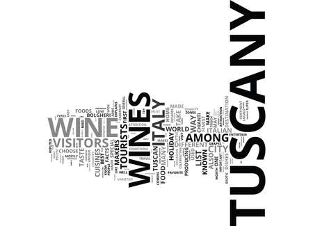FOOD AND WINE IN THE TUSCANY DISTRICTS Text Background Word Cloud Concept Ilustração