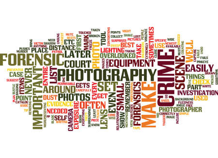 even: FORENSICPHOTOGRAPHYUSEDINTODAYSSOCIETY Text Background Word Cloud Concept
