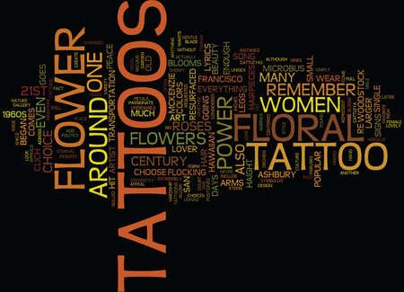 花の入れ墨 ST 世紀テキスト背景単語雲概念のフラワー パワー