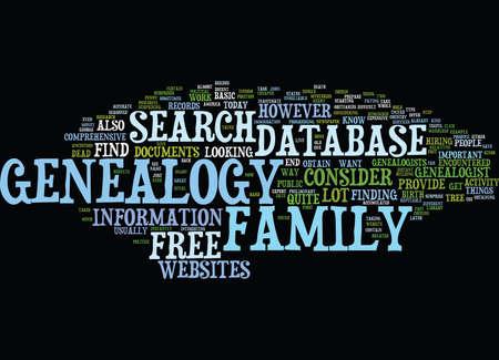 FREIES GENEALOGY DATABASE Text-Hintergrund-Wort-Wolken-Konzept Vektorgrafik