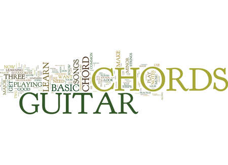 FREE LESSON ON BASIC GUITAR CHORDS Text Background Word Cloud Concept