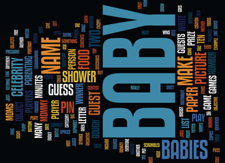 FREE BABY SHOWER GAMES Text Background Word Cloud Concept
