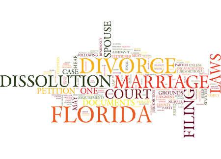 FLORIDA DIVORCE LAWS 텍스트 배경 단어 구름 개념