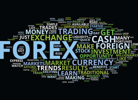 FOREX FOR EXPRESS FORTUNES Text Background Word Cloud Concept Illustration