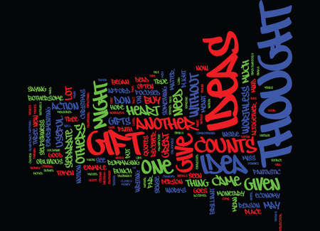 GIFTS WITH NO THOUGHT ARE WORTHLESS Text Background Word Cloud Concept