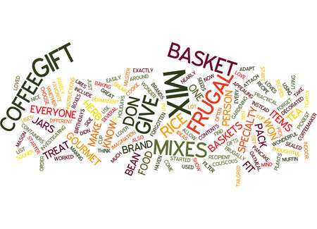 FRUGAL GIFT BASKETS Text Background Word Cloud Concept