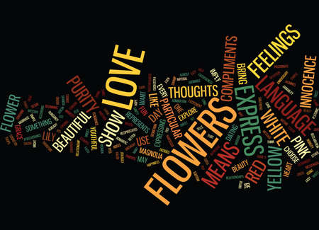 FLOWERS LANGUAGE Text Background Word Cloud Concept