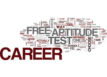 FREE CAREER APTITUDE TEST Text Background Word Cloud Concept