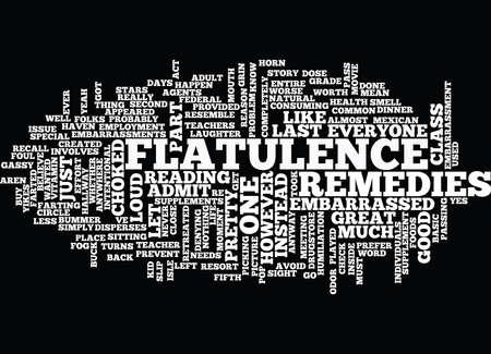 FLATULENCE REMEDIES Text Background Word Cloud Concept