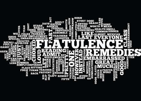 FLATULENCE REMEDIES Text Background Word Cloud Concept