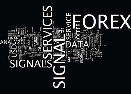 FOREX SIGNAL SERVICES Text Background Word Cloud Concept Ilustracja