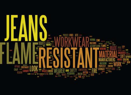 FLAME RESISTANT JEANS Text Background Word Cloud Concept Ilustração