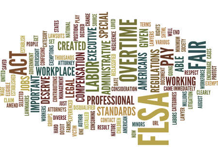 FLSA LAWYERS FAIR LABOR STANDARDS ACT ATTORNEYS LAWSUITS Text Background Word Cloud Concept