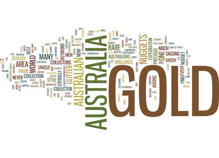 GOLD IN AUSTRALIA Text Background Word Cloud Concept