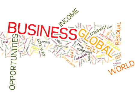 GLOBAL BUSINESS OPPORTUNITIES Text Background Word Cloud Concept Çizim