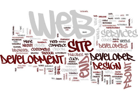 FRONT END WEB DEVELOPER METAMORPHOSIS Text Background Word Cloud Concept Illustration