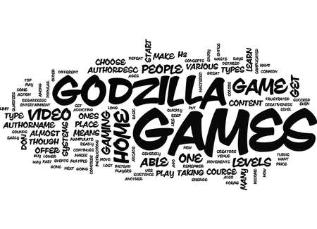 GODZILLA GAMES Text Background Word Cloud Concept