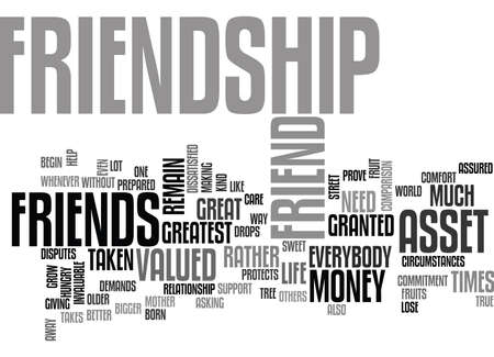 FRIENDSHIP AN INVALUABLE ASSET Text Background Word Cloud Concept
