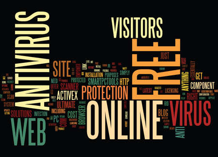 essentially: FREE ONLINE ANTIVIRUS Text Background Word Cloud Concept Illustration