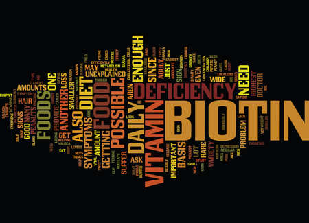 biotin: FOOD WITH BIOTIN ALSO KNOWN AS B SEVEN Text Background Word Cloud Concept