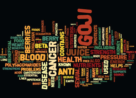 GOJI NUTRIENT DENSE SUPERFOOD Text Background Word Cloud Concept Ilustração