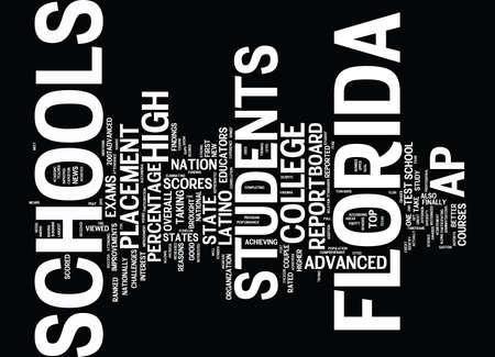 jefferson: FLORIDA SCHOOLS GET GREAT AP GRADES Text Background Word Cloud Concept