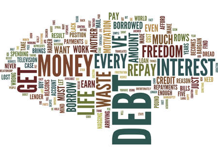 FIVE REASONS TO GET OUT OF DEBT Text Background Word Cloud Concept Illustration