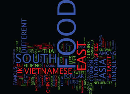 FOOD IN SOUTH EAST ASIA Text Background Word Cloud Concept Ilustração