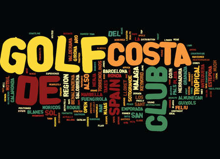 nerja: GOLF IN SPAIN Text Background Word Cloud Concept