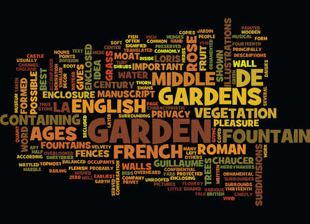 FRENCH AND ENGLISH GARDENS OF THE MIDDLE AGES Text Background Word Cloud Concept