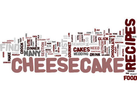 GOURMET CHEESECAKE RECIPES Text Background Word Cloud Concept