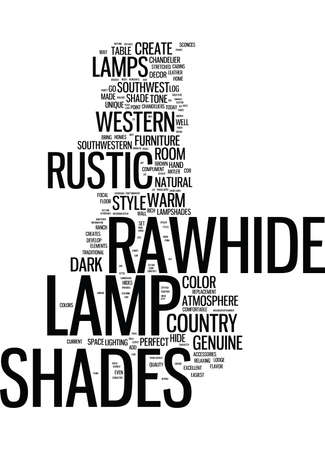 GO RUSTIC ADD RAWHIDE LAMP SHADES TO YOUR LAMPS TODAY Text Background Word Cloud Concept
