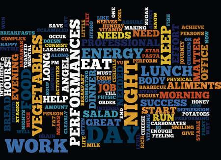 FOOD FOR SUCCESS Text Background Word Cloud Concept Ilustração