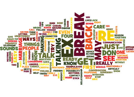 FOUR BOLD WAYS TO GET YOUR EX BACK Text Background Word Cloud Concept