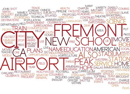 FREMONT CA Text Background Word Cloud Concept Illustration