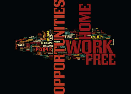FREE WORK AT HOME OPPORTUNITIES Text Background Word Cloud Concept Illusztráció